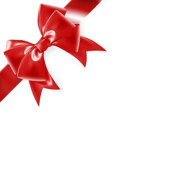 Red bow  on white.