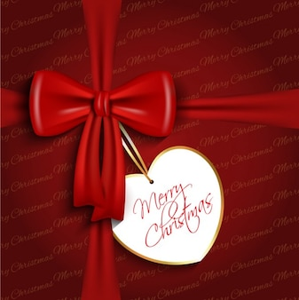 Red bow with heart tag background