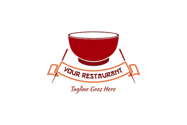 Red bowl and chopstick for noodle asian japanese chinese korean oriental food restaurant logo design vector