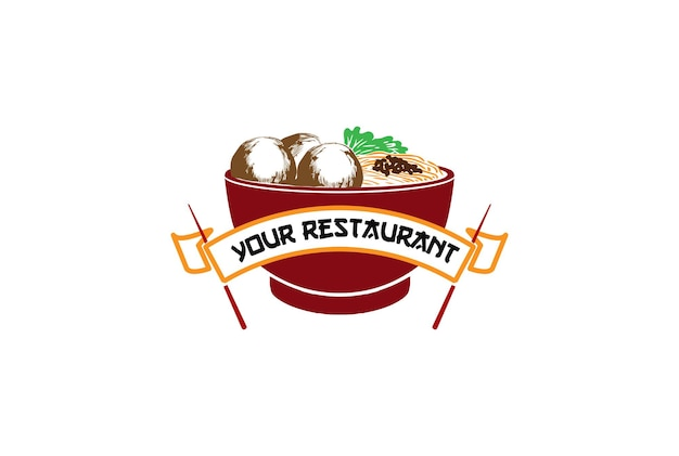 Red bowl chopstick with meatball and noodle asian japanese chinese korean oriental food restaurant  logo design vector