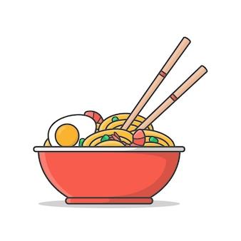ゆで卵、エビ、箸でラーメンの赤いボウル。オリエンタルヌードルフード。アジアンヌードル