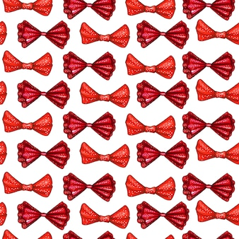 Red bows hand drawn seamless pattern