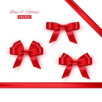 Red bows and ribbons set.