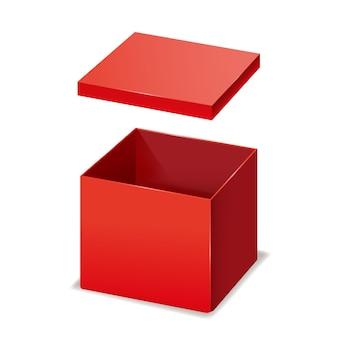赤い箱が開いた、紙、段ボール。デザイン製品、パッケージ、ブランディングのためのテンプレート分離モックアップ。