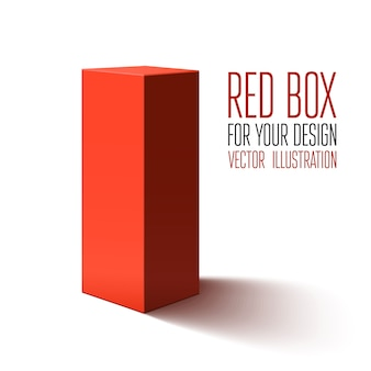 Red box  on white background. illustration