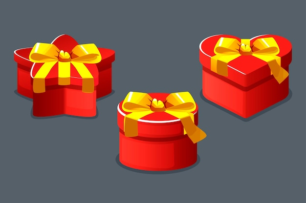 Red boxes gifts closed different shapes isolated for the game.
