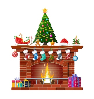 Red brick classic fireplace with socks, christmas tree, candle balls gifts and sleigh. happy new year decoration. merry christmas holiday. new year and xmas celebration.
