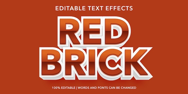 Red brick editable text effect