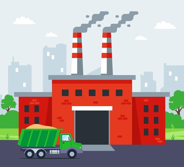 煙突のある赤レンガ工場。フラットベクトルイラスト。