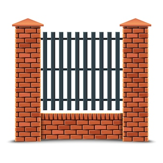 Red brick fence. isolated on white background.