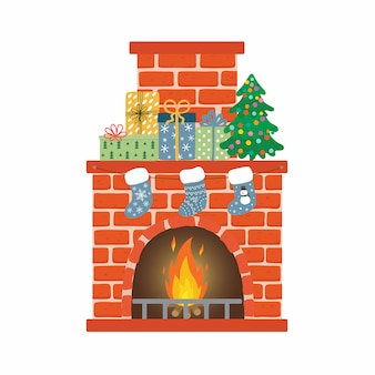 Red brick fireplace with socks, christmas tree and gifts