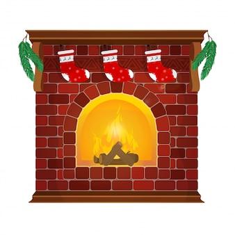 赤レンガは、靴下と新年の花輪を備えた古典的な暖炉です。新年あけましておめでとうございます装飾。メリークリスマス正月とクリスマス。フラットスタイルのイラスト。