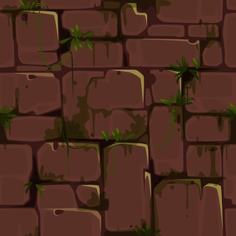 Red brick wall seamless pattern for jungle theme vector