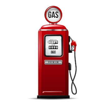 가솔린 펌프의 연료 노즐이 있는 빨간색 밝은 주유소 펌프. 현실적인 벡터 일러스트 레이 션 흰색 절연입니다.