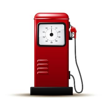 ガソリンポンプの燃料ノズルを備えた赤く明るいガソリンスタンドポンプ