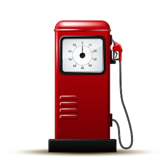 Red bright gas station pump with fuel nozzle of petrol pump