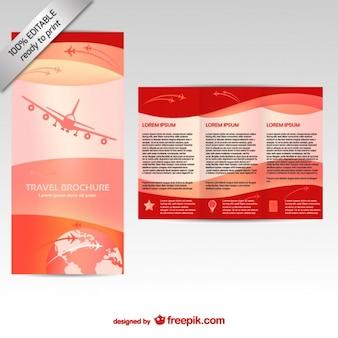 비행기와 빨간 소책자 템플렛