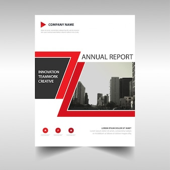 Red brochure with geometric lines