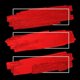 Red brush stoke texture on black background with white line frame