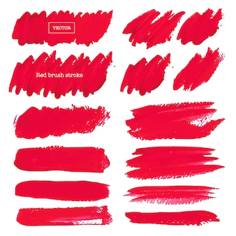Red brush stroke isolated on white background, vector illustration.