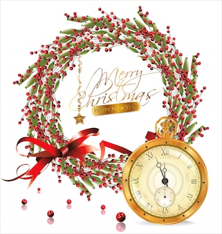 Красный пузырь рождественский венок и золотые старые часы