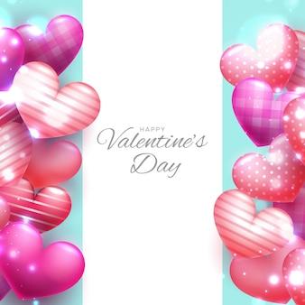 Cuori rossi della bolla che galleggiano cartolina d'auguri di san valentino