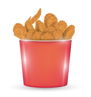Red bucket full of a fried chicken on a white background