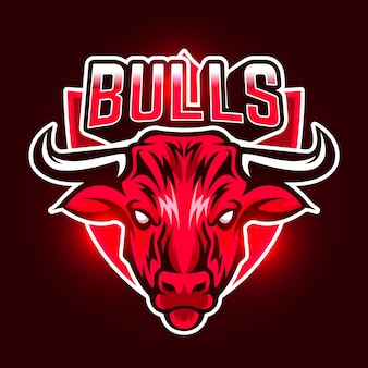 Red bulls mascot business company logo