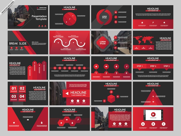 Red bundle presentaion infographic templates