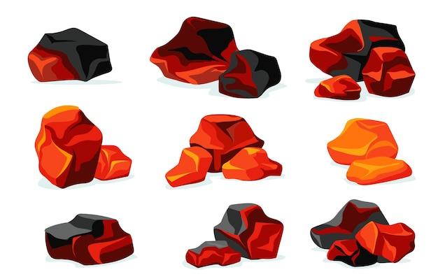 Red burning charcoal flat set