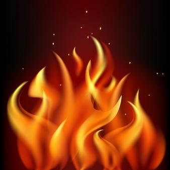 黒の背景に赤の燃える炎