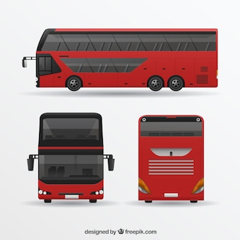 Red bus in different views