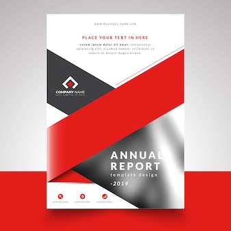Red business annual report template