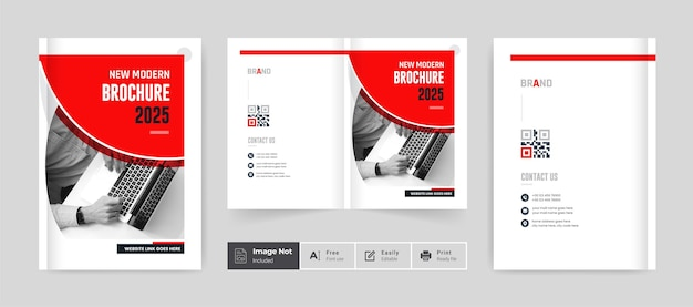 Red business brochure design cover template company profile annual report page corporate layout
