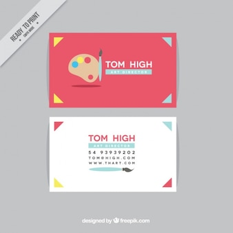 Red business card for art direction