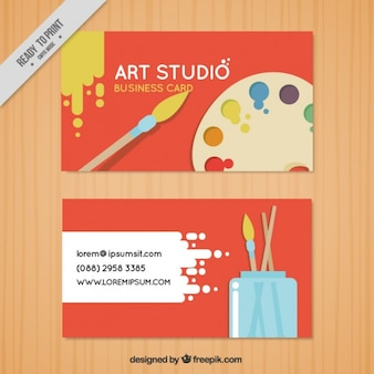 Red business card, art studio
