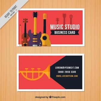 Красная визитная карточка для музыкальной студии