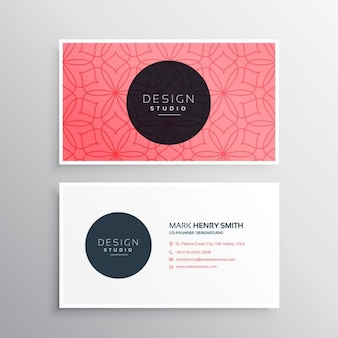 Red business card with ornaments