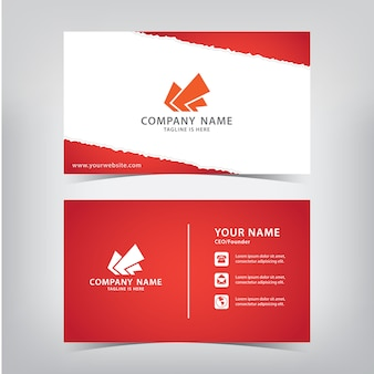 Red business card with torn paper style