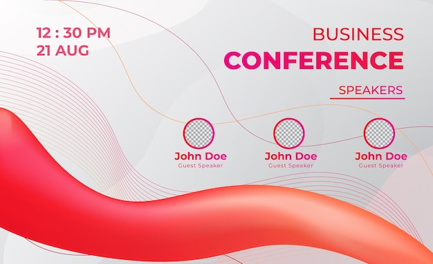Red business conference meeting live web banner vector