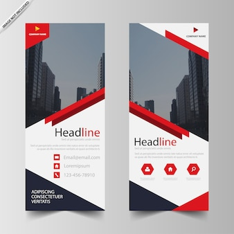 Red business roll up banner template