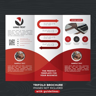 Red business trifold brochure template layout