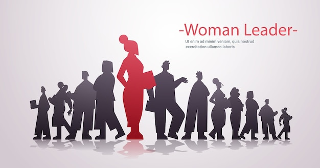 Red businesswoman leader silhouette standing in front of businesspeople group leadership business competition concept horizontal  copy space  illustration