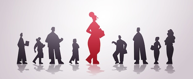 Red businesswoman leader silhouette standing in front of businesspeople group leadership business competition concept horizontal   illustration