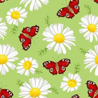 赤い蝶と白いデイジーのシームレスなパターン。フローラル。