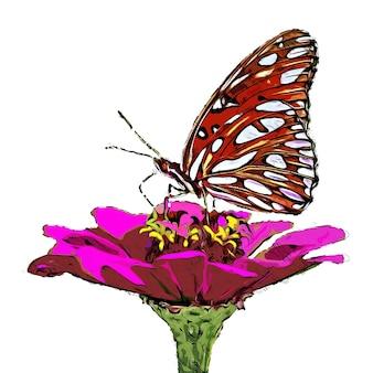 핑크 꽃에 붉은 나비 수채화
