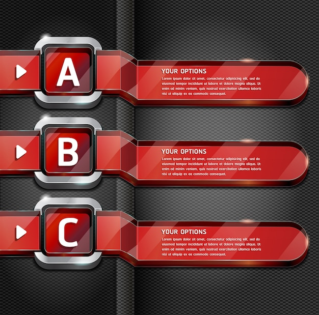 Red buttons website style number options banner & card background.
