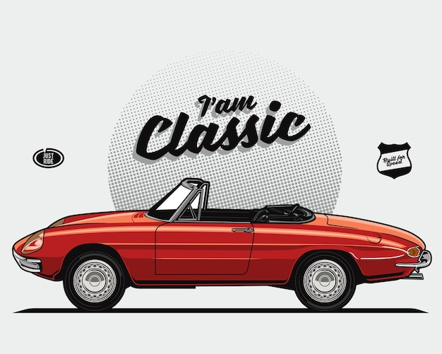 Красный кабриолет классический автомобиль