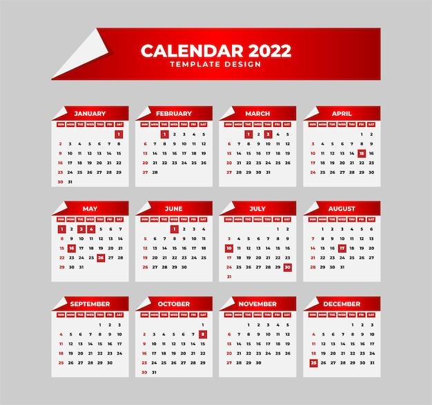 紙折りスタイルの赤いカレンダー2022テンプレート