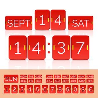 タイマーとスコアボード番号付きの赤いカレンダー。ベクトルeps10イラスト